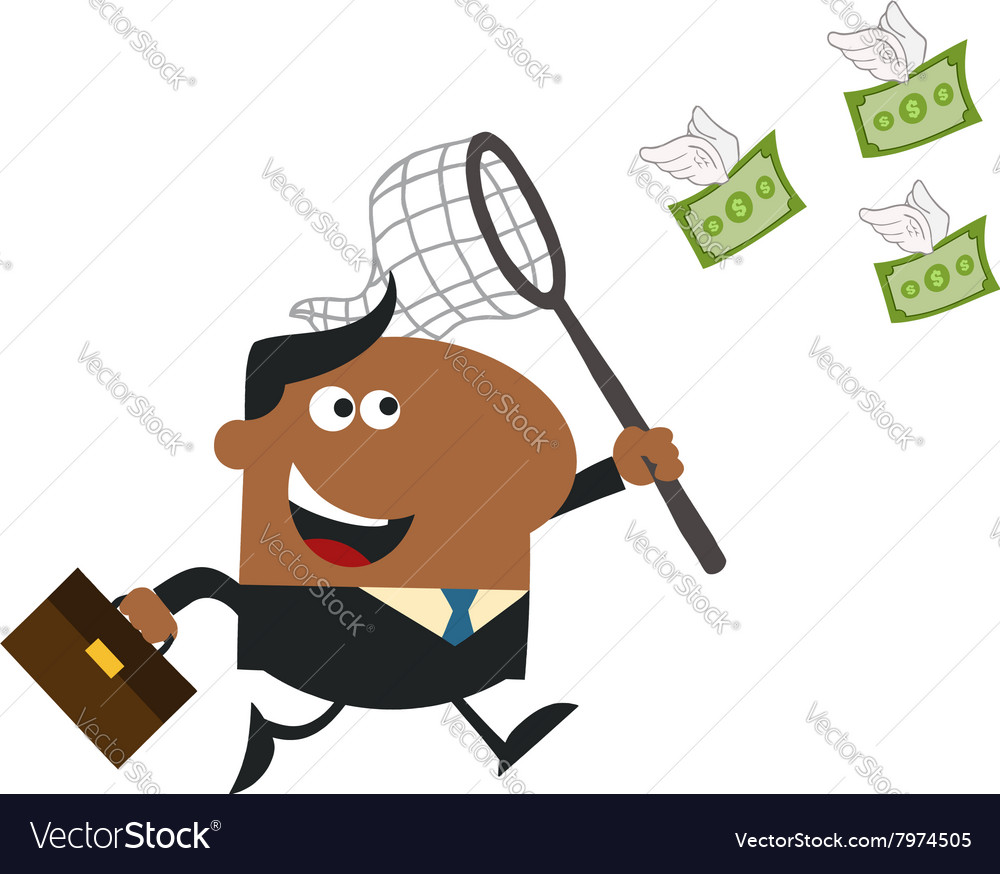 Business man chasing money cartoon vector