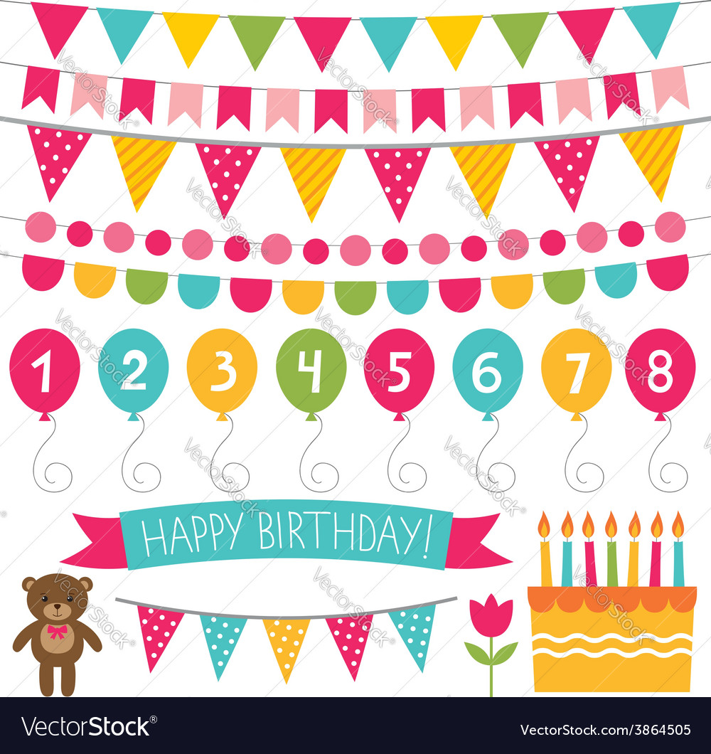 Kid birthday party decoration set vector