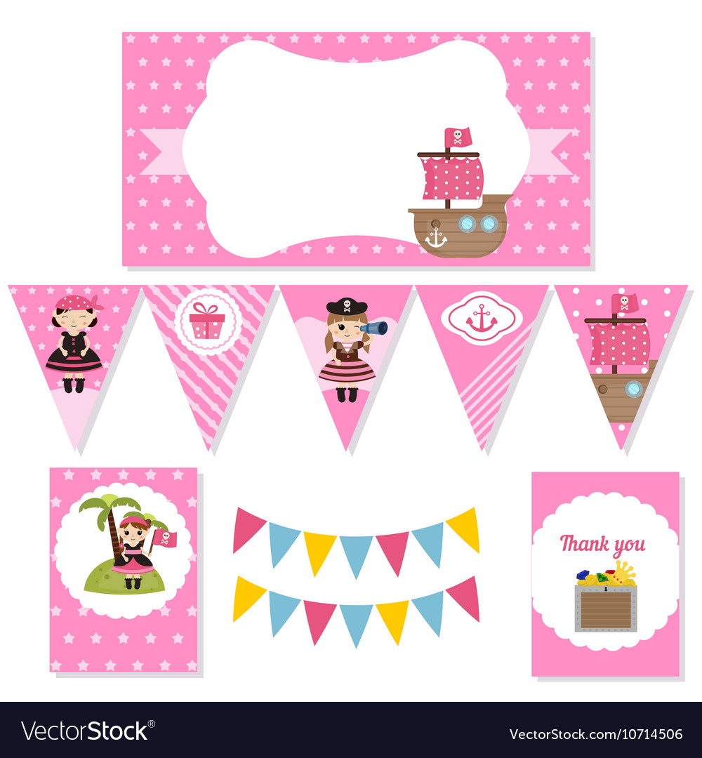 Set of birthday party elements vector