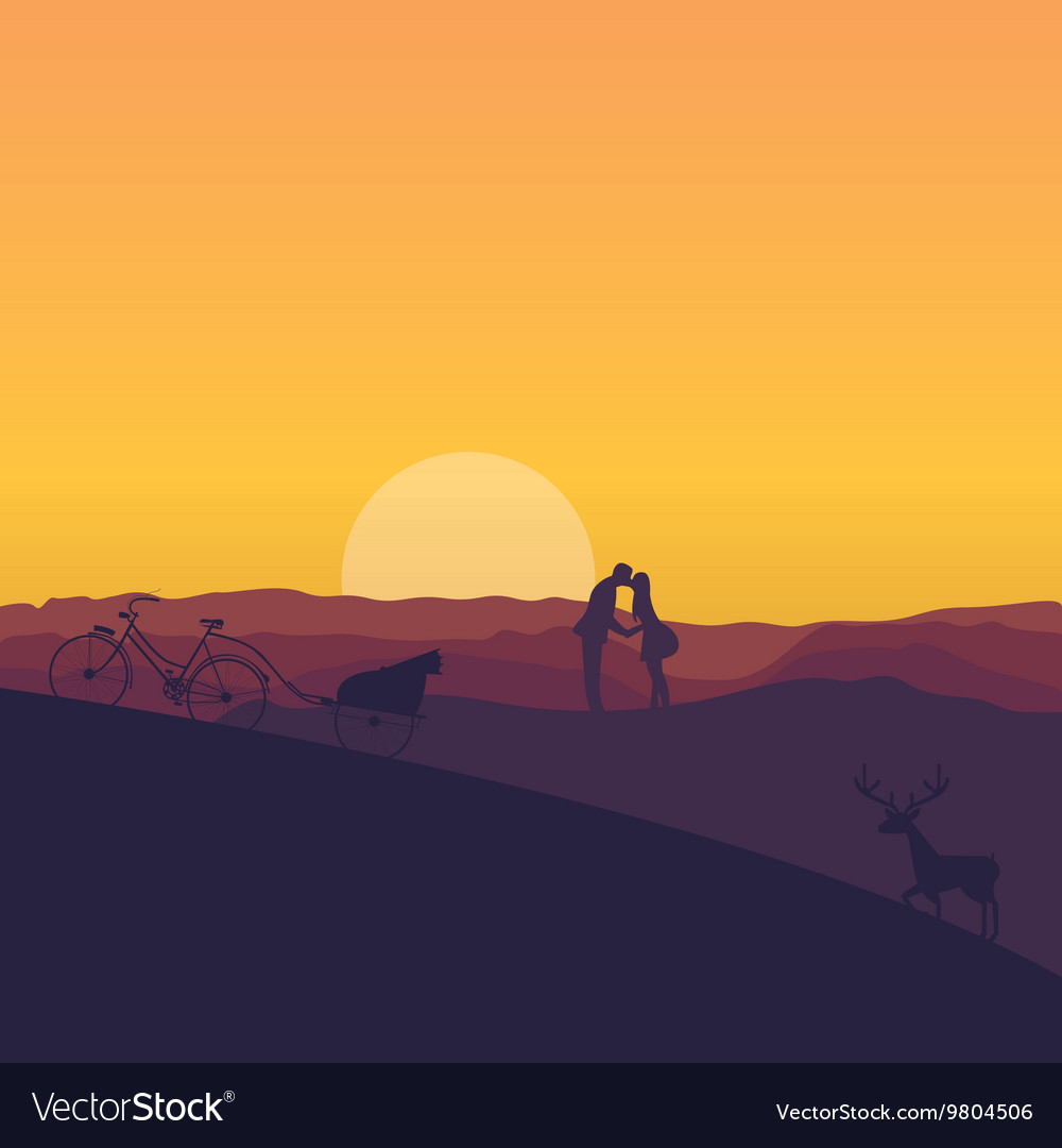 Silhouette of couple kissing in sunset dramatic vector