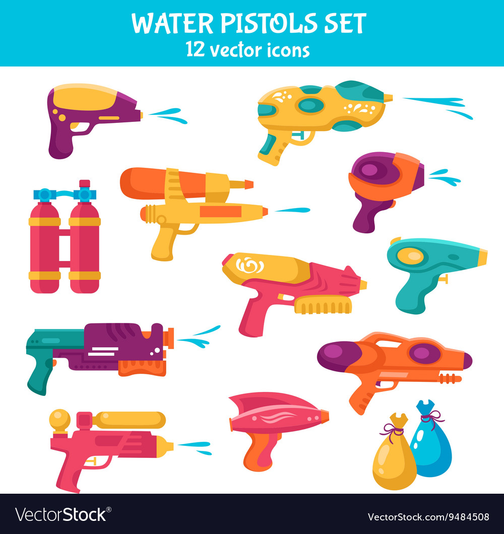 Water guns set vector