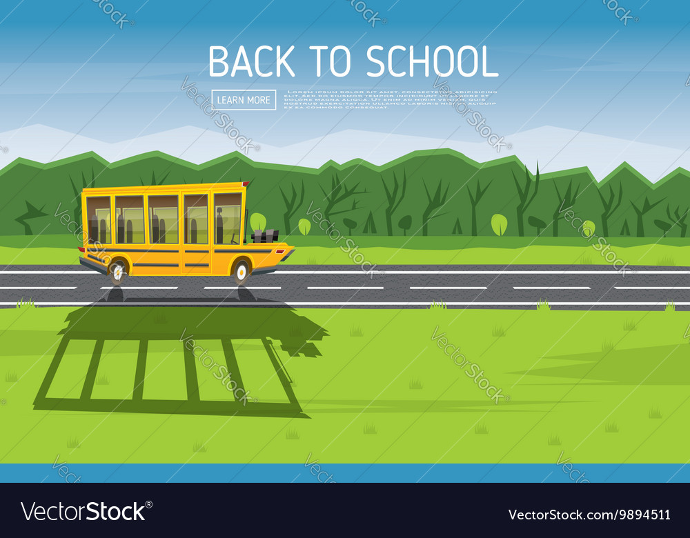 Yellow school bus driving along country road vector