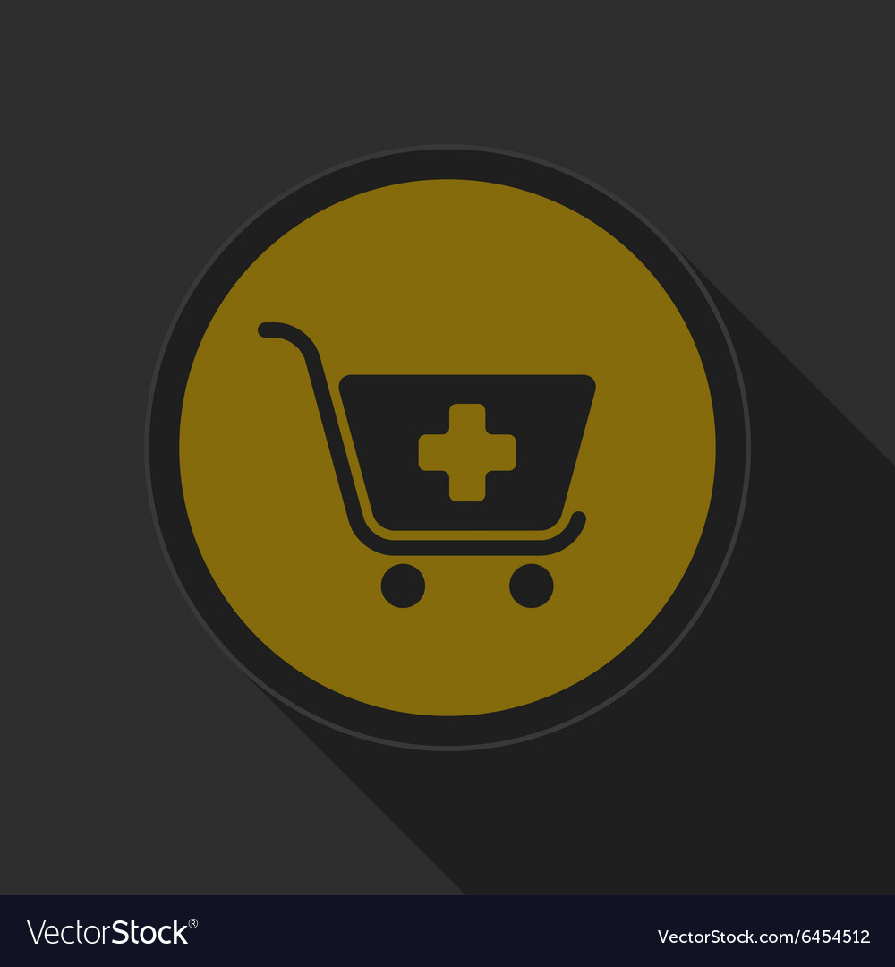 Dark gray and yellow icon  shopping cart plus vector