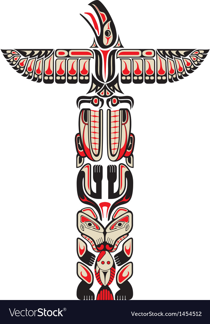 Haida style totem pattern vector