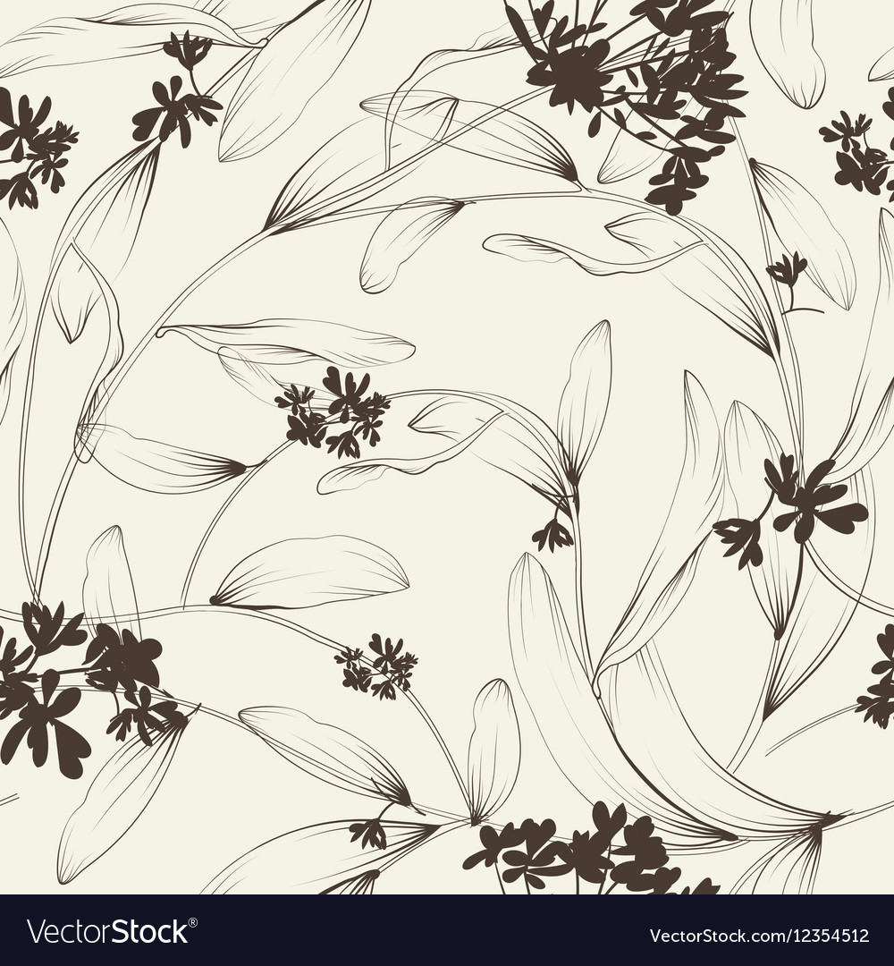 Plants and herbs seamless pattern vector