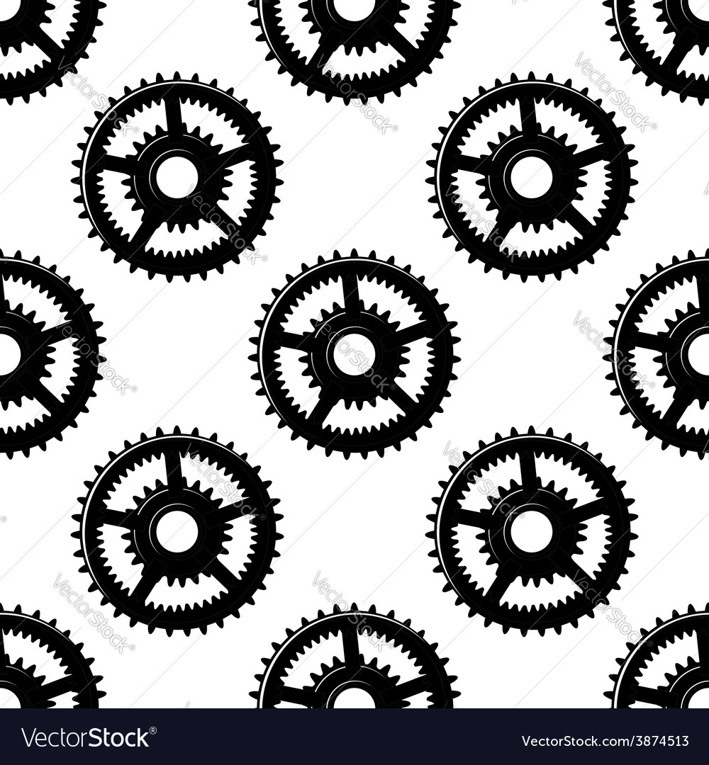 Abstract seamless gear wheels pattern vector