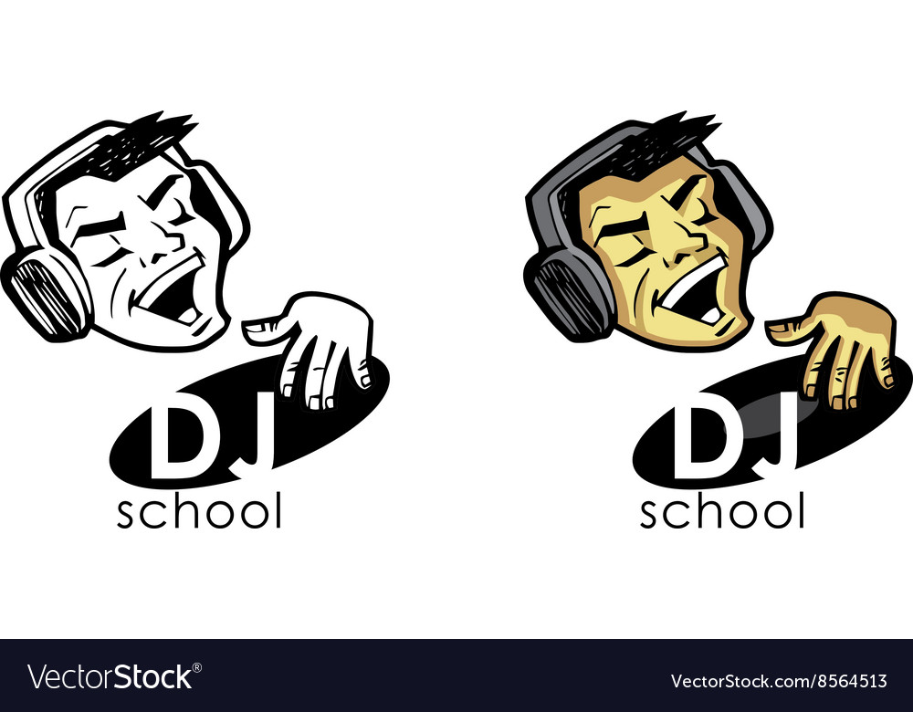 Dj in earphones plays on a vinyl record vector