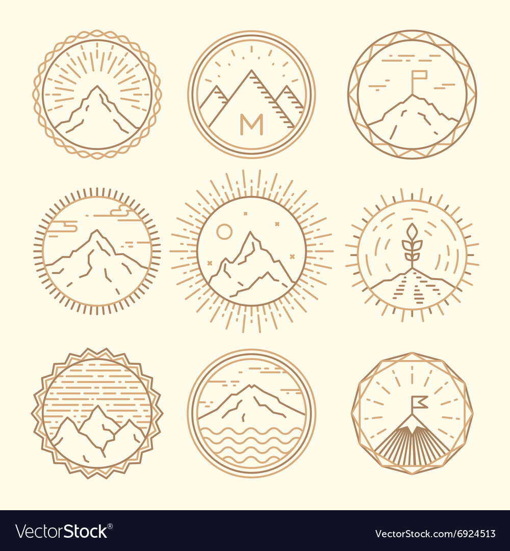 Mountains icons logotypes monogram linear style vector