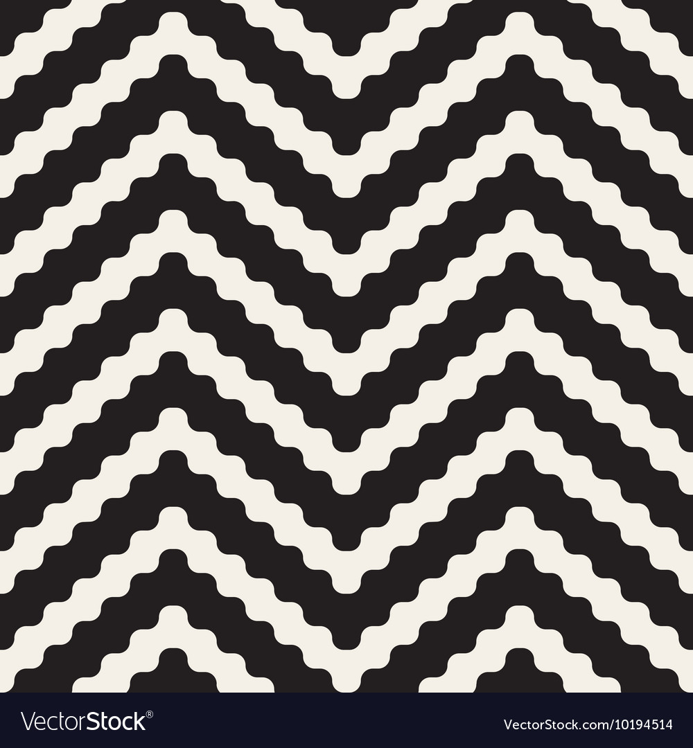 Seamless black and white zigzag rounded vector