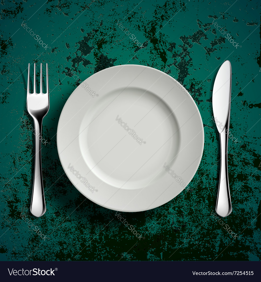 Ceramic plate fork and knife vector