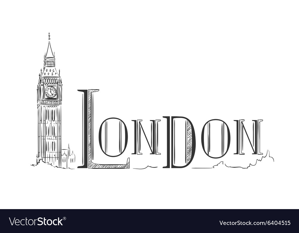 London lettering with the big ben vector