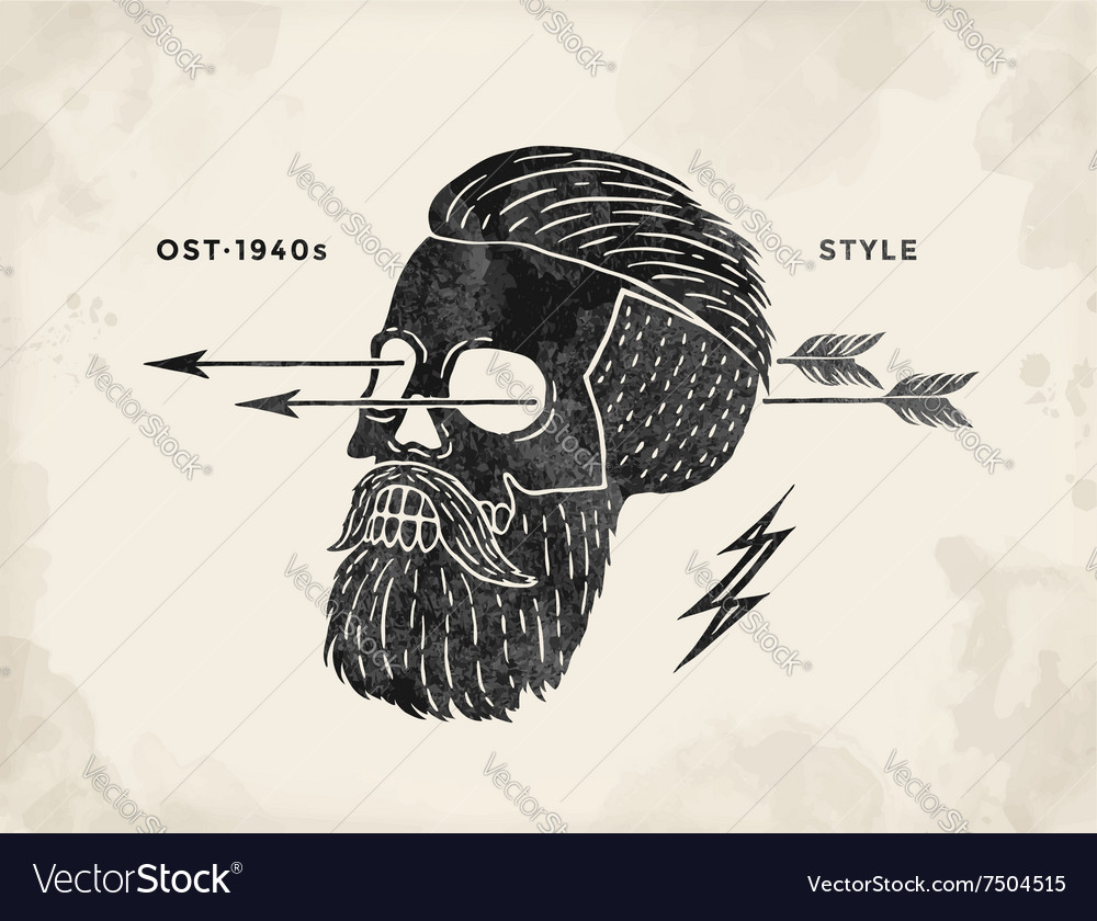 Poster of vintage skull hipster label retro old vector