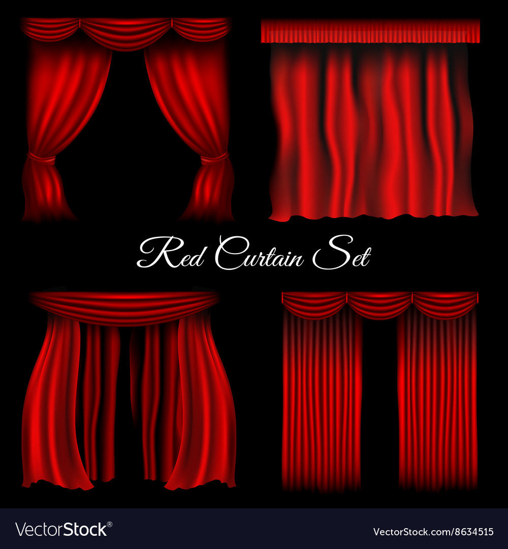 Red curtains on transparent background vector