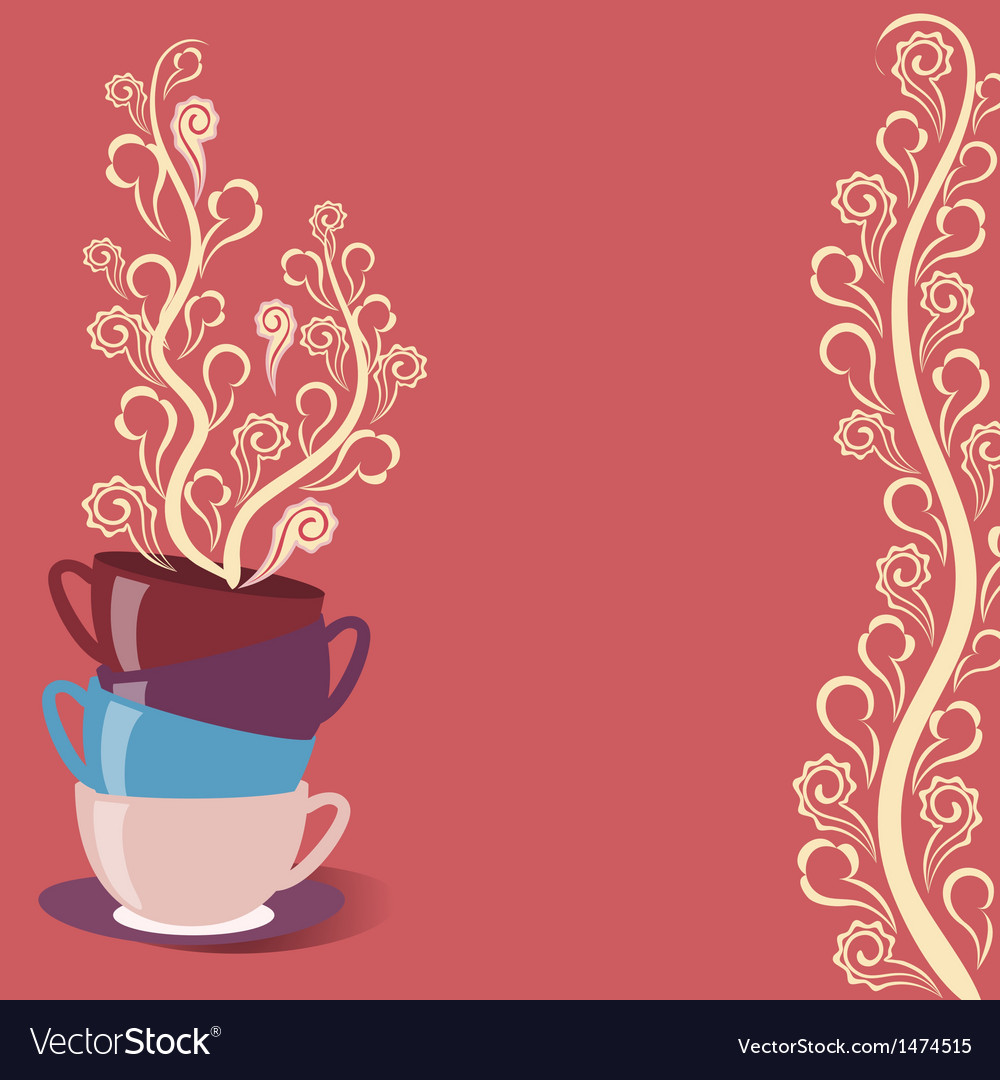 Tea card with cups and flowers vector