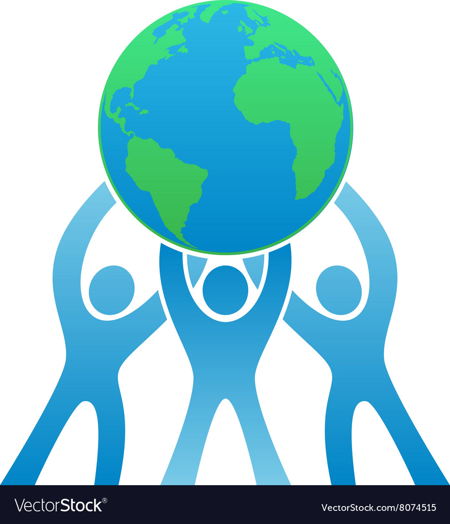 Teamwork earth logo vector