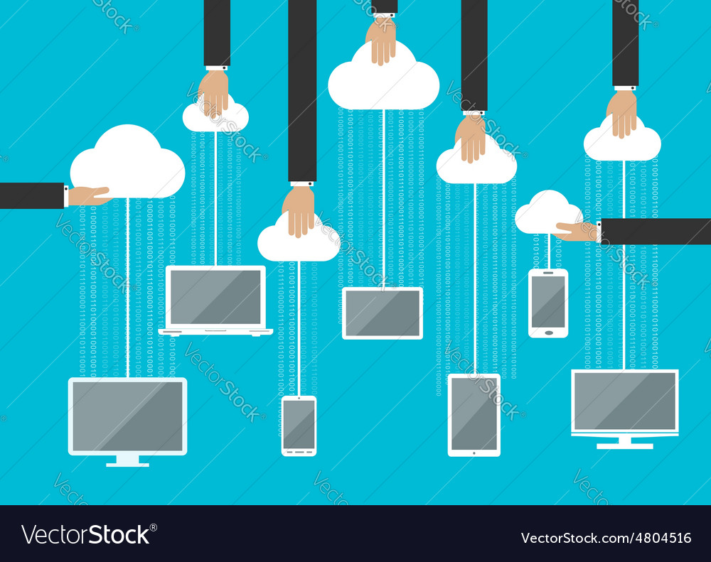 Peoples using gadgets in cloud service vector