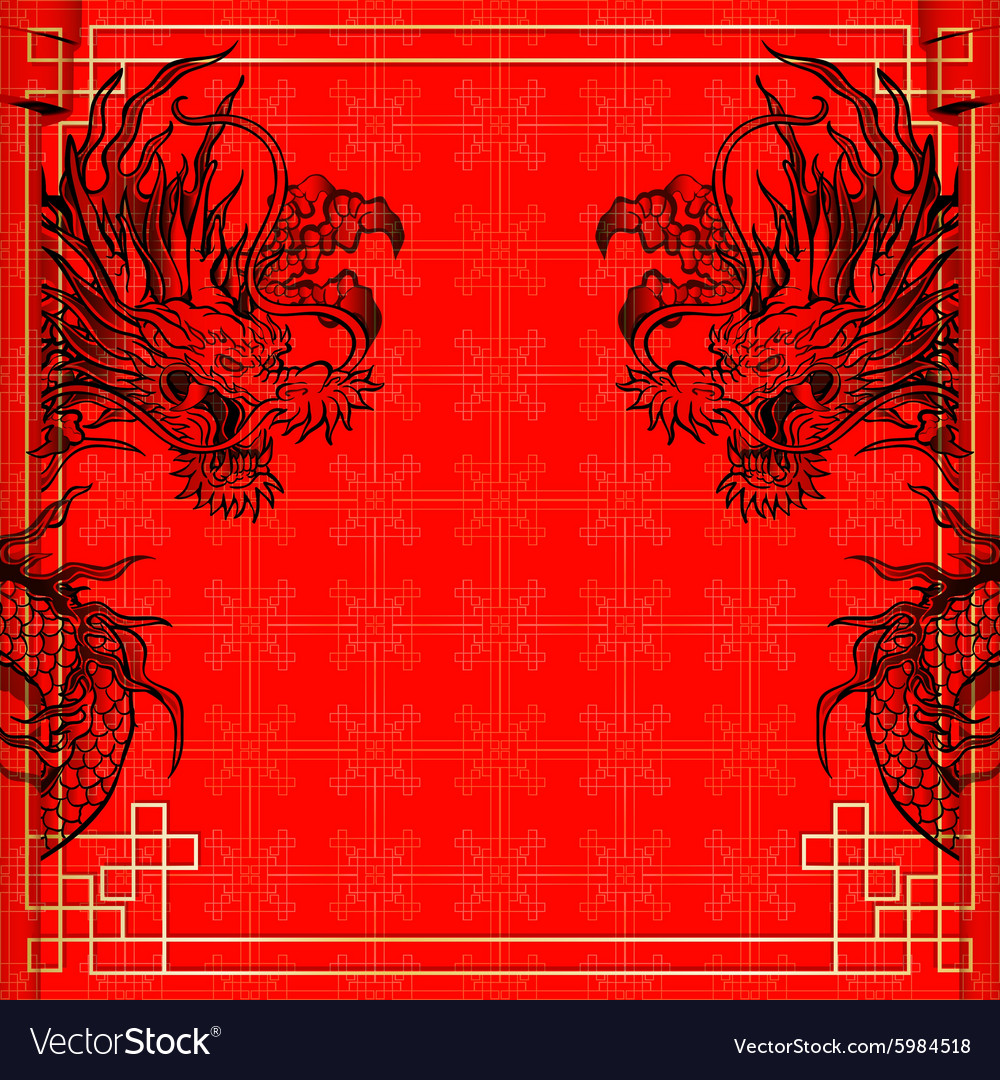 Frame red dragon goldcolored sticker 3 vector