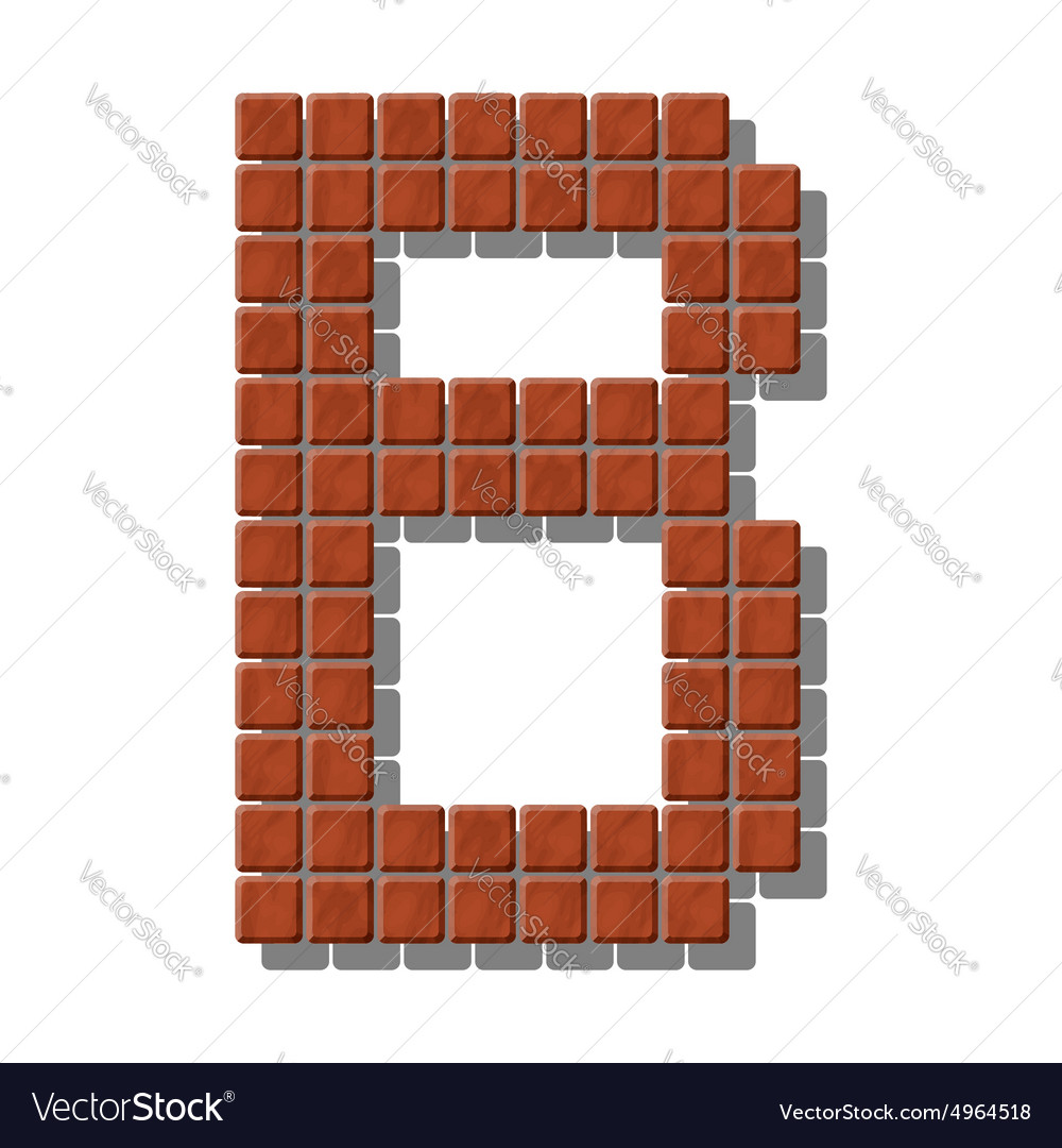 Letter b made from realistic stone tiles vector