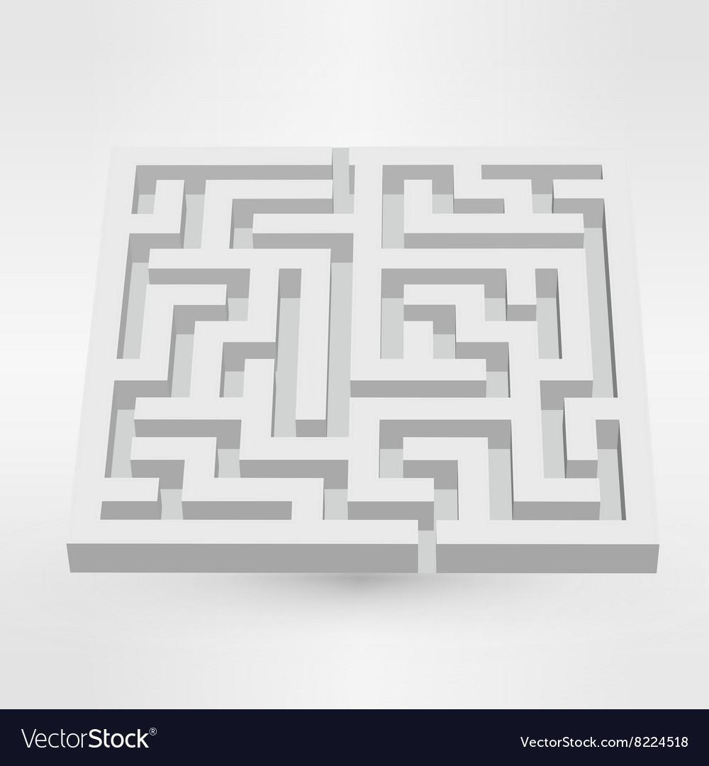 Maze labyrinth puzzle white on grey background 3d vector