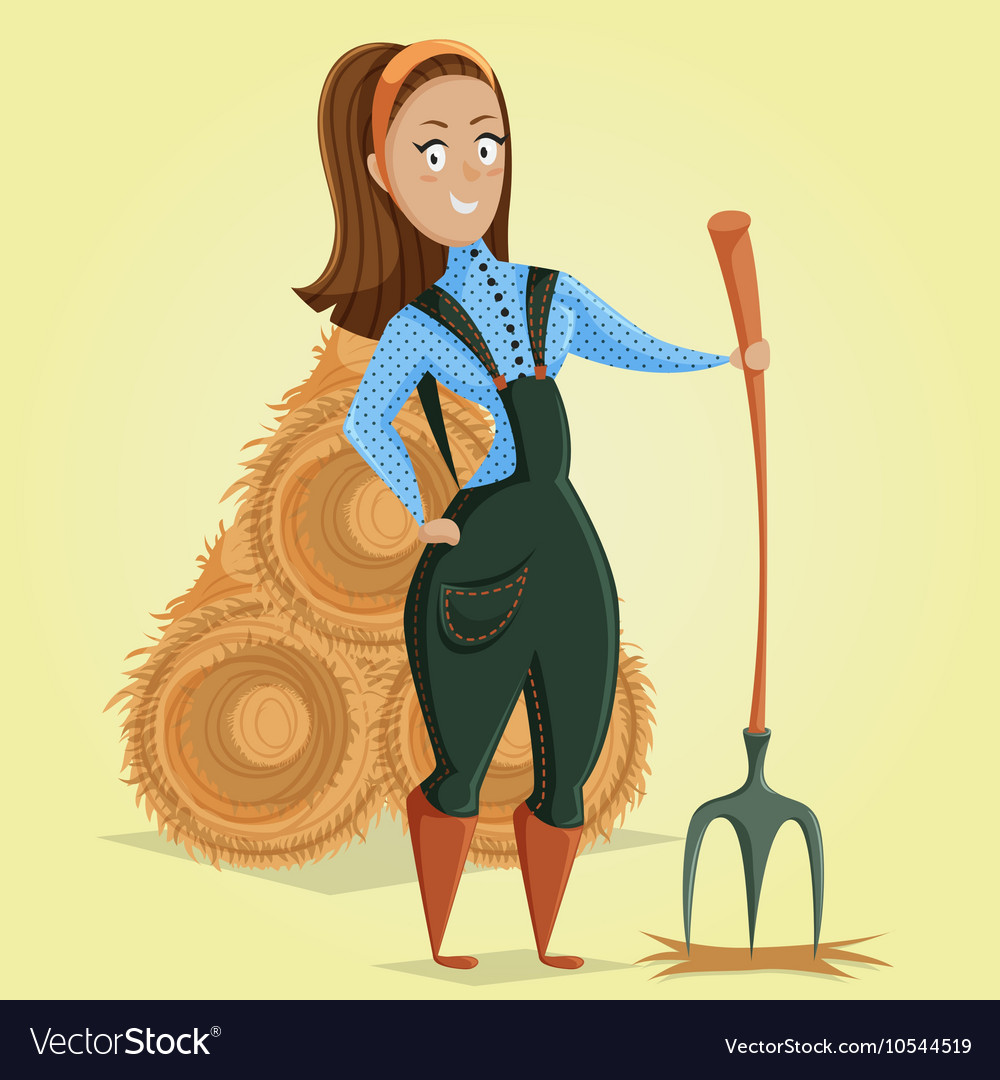 Cartoon farmer girl character vector
