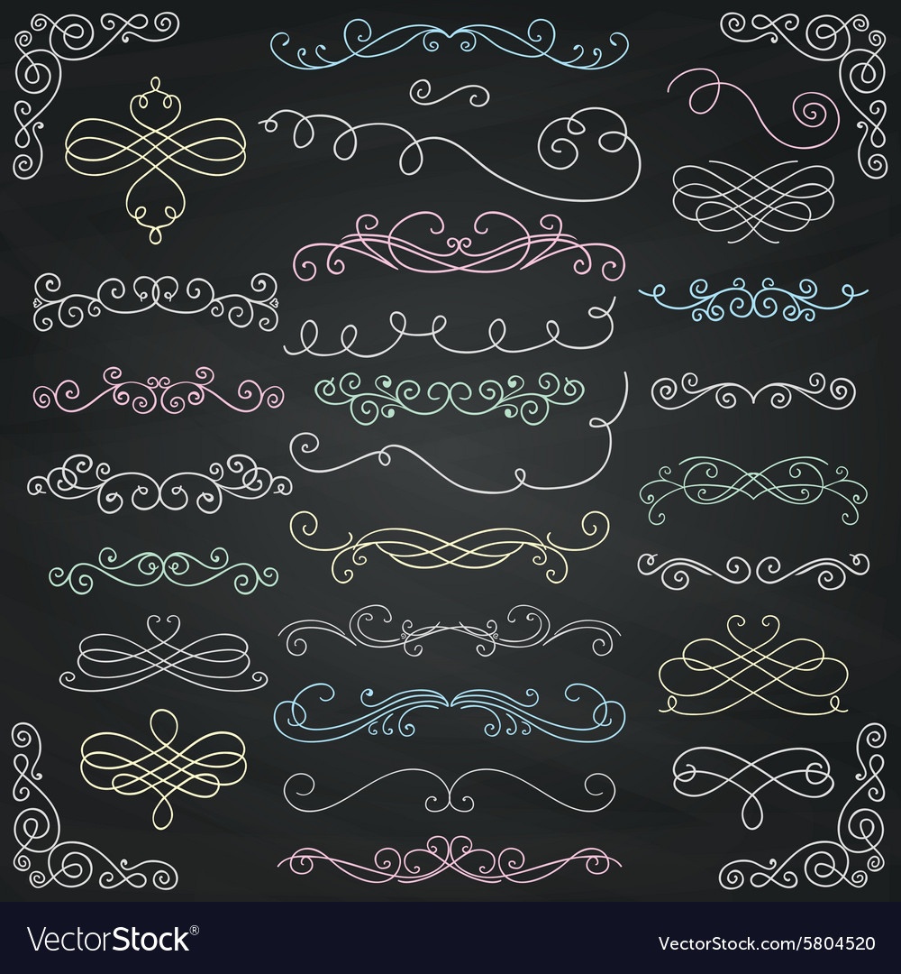 Chalk drawing vintage hand drawn swirls vector