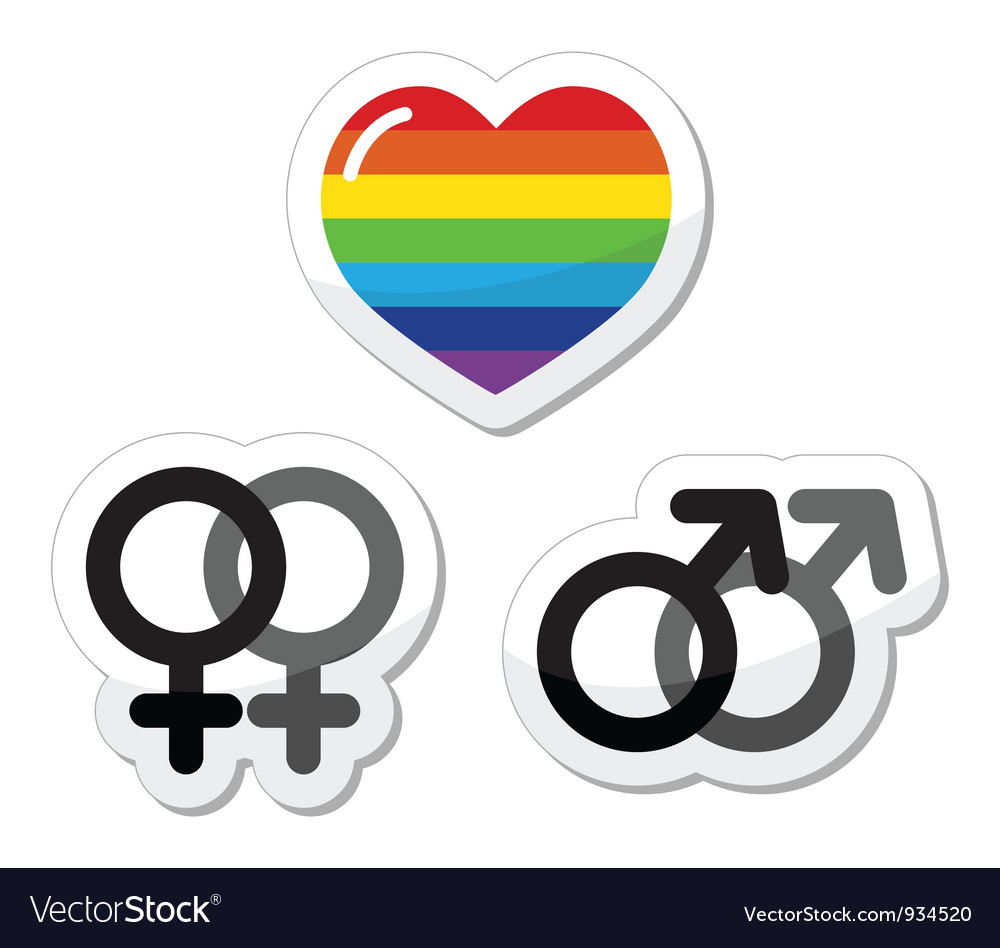 Gay couple gay love icons set vector