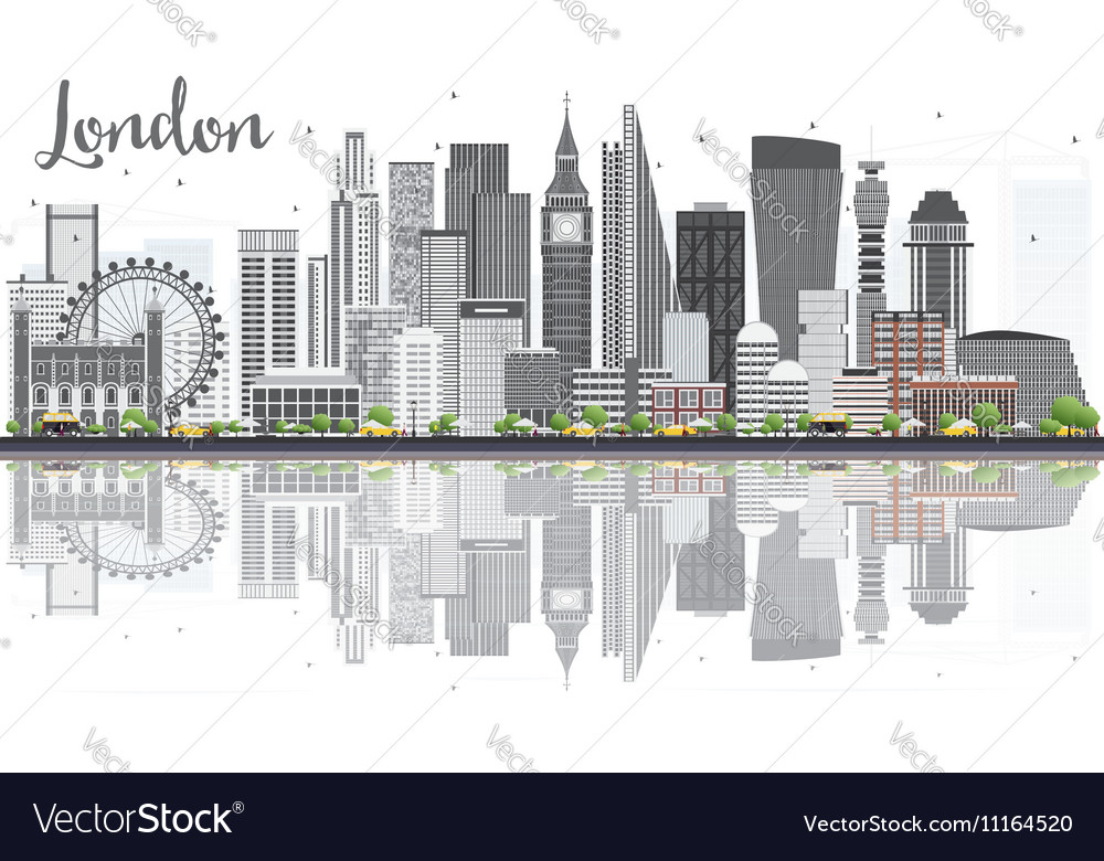 London skyline with gray buildings vector