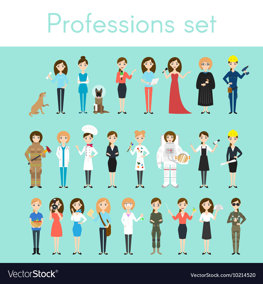 Set of different colorful woman professions vector