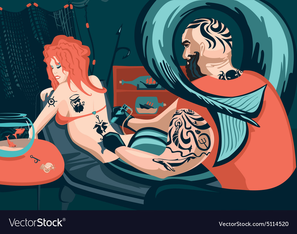 Tattoo master and mermaid vector