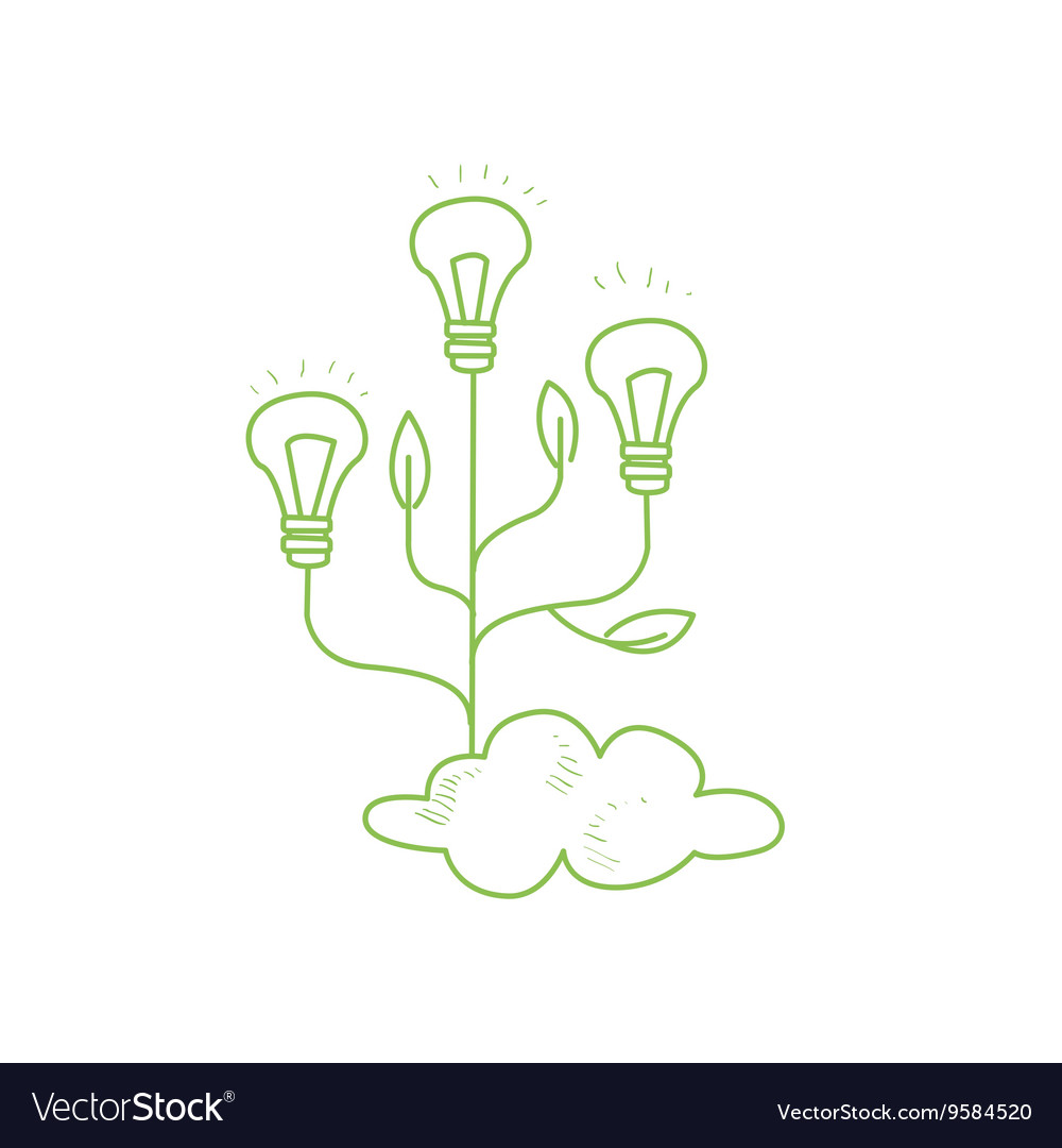 Three fruiting with symbolic idea bulbs vector