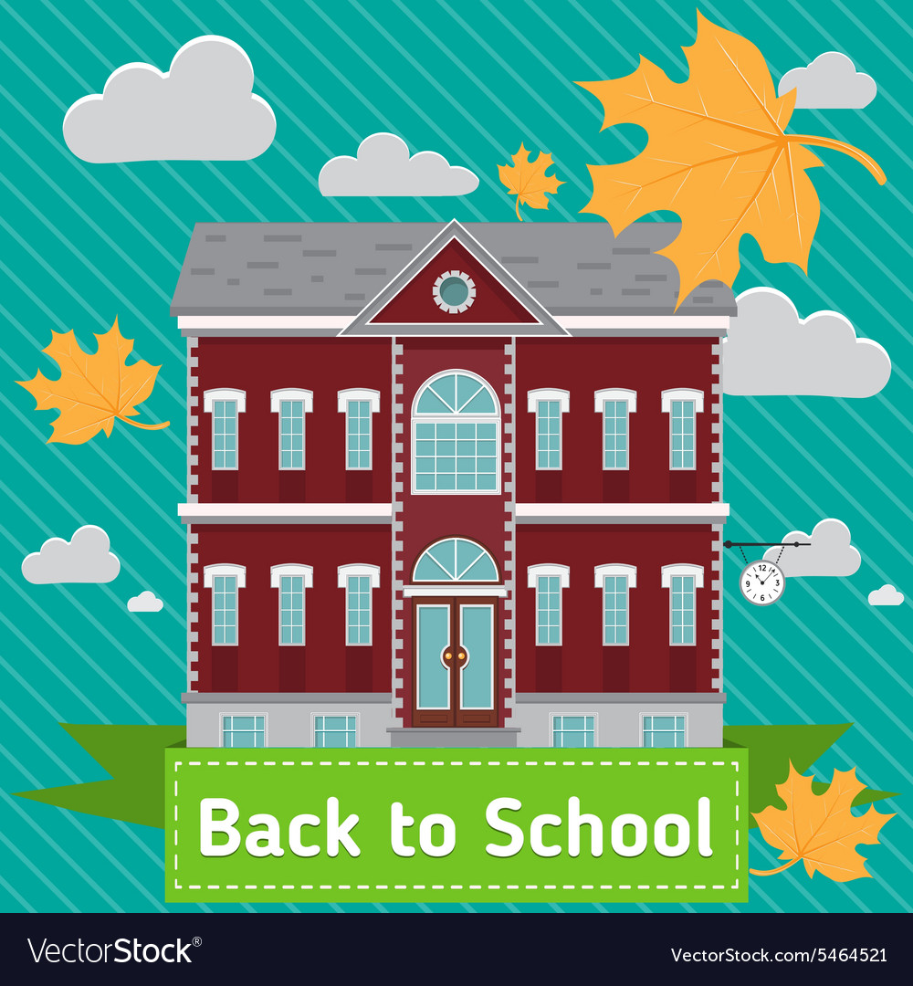 School building in front of blue sky with autumn vector