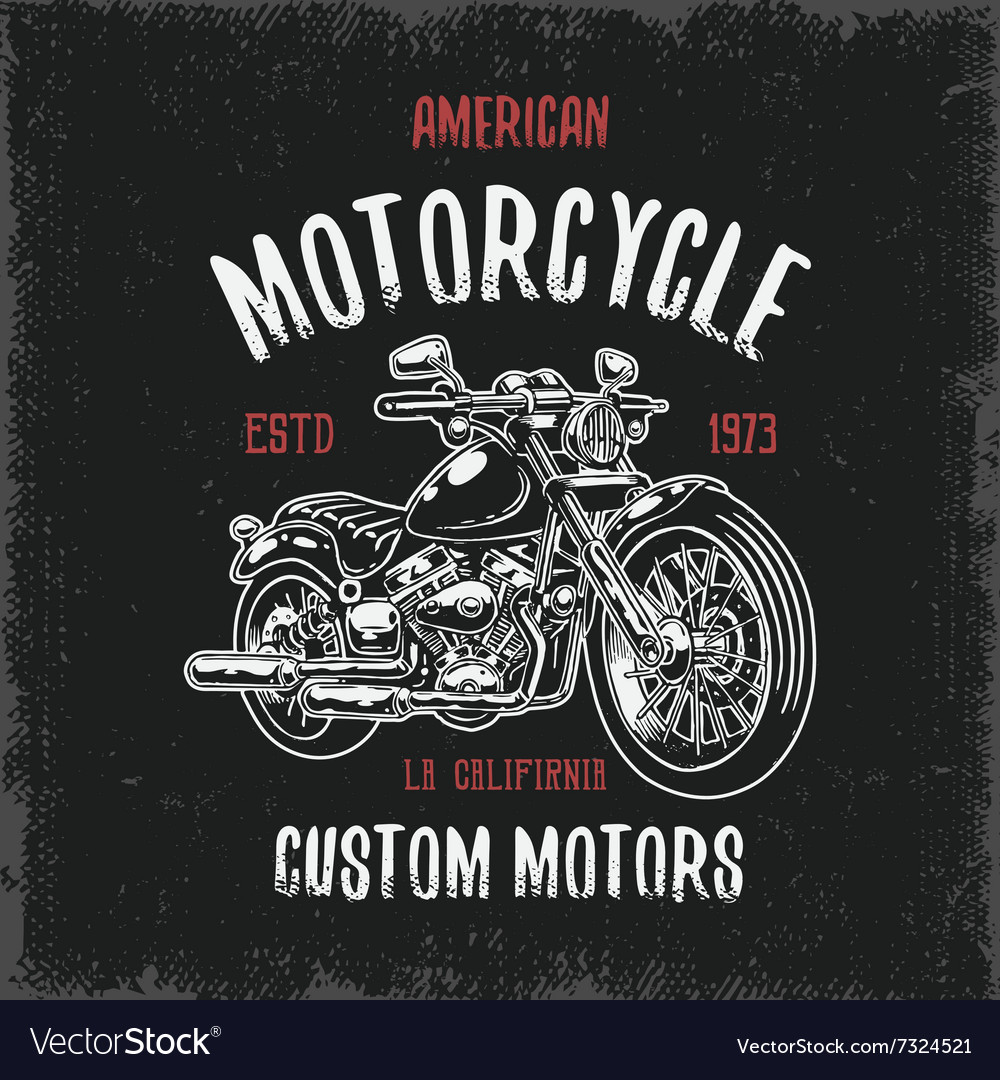 Tshirt print with hand drawn motorcycle vector