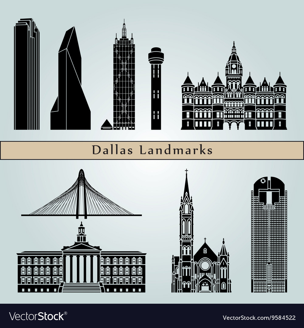 Dallas landmarks and monuments vector
