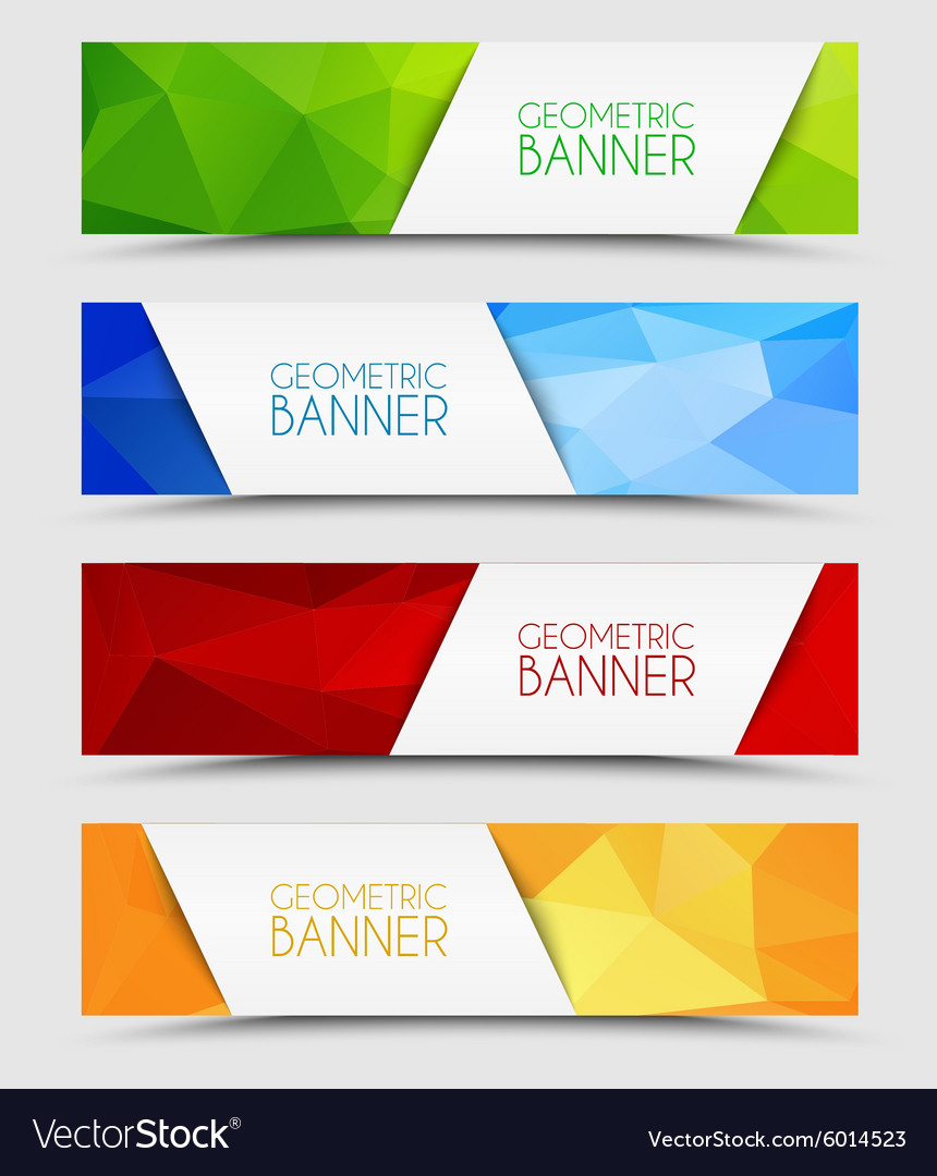 Set of geometric polygonal banners vector