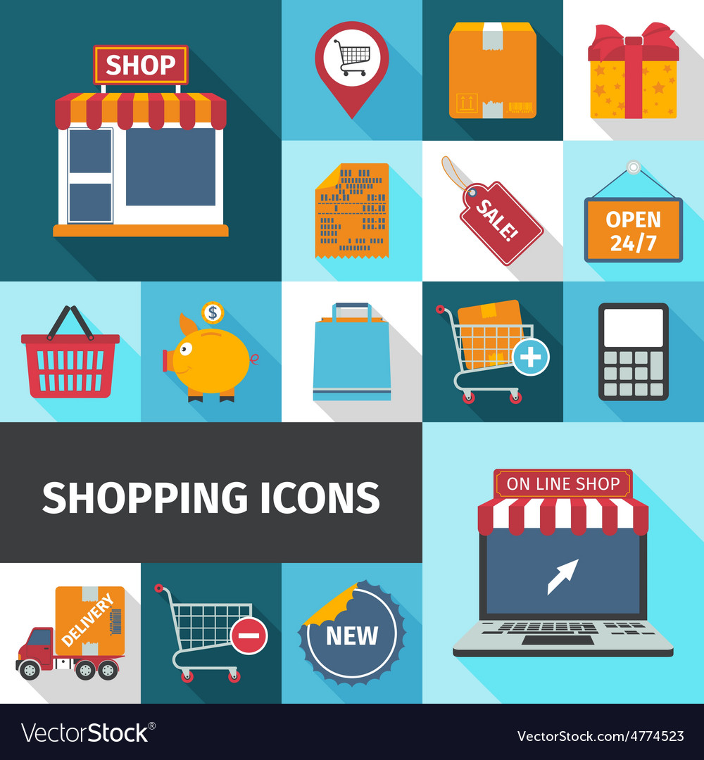 Shopping square icons set vector