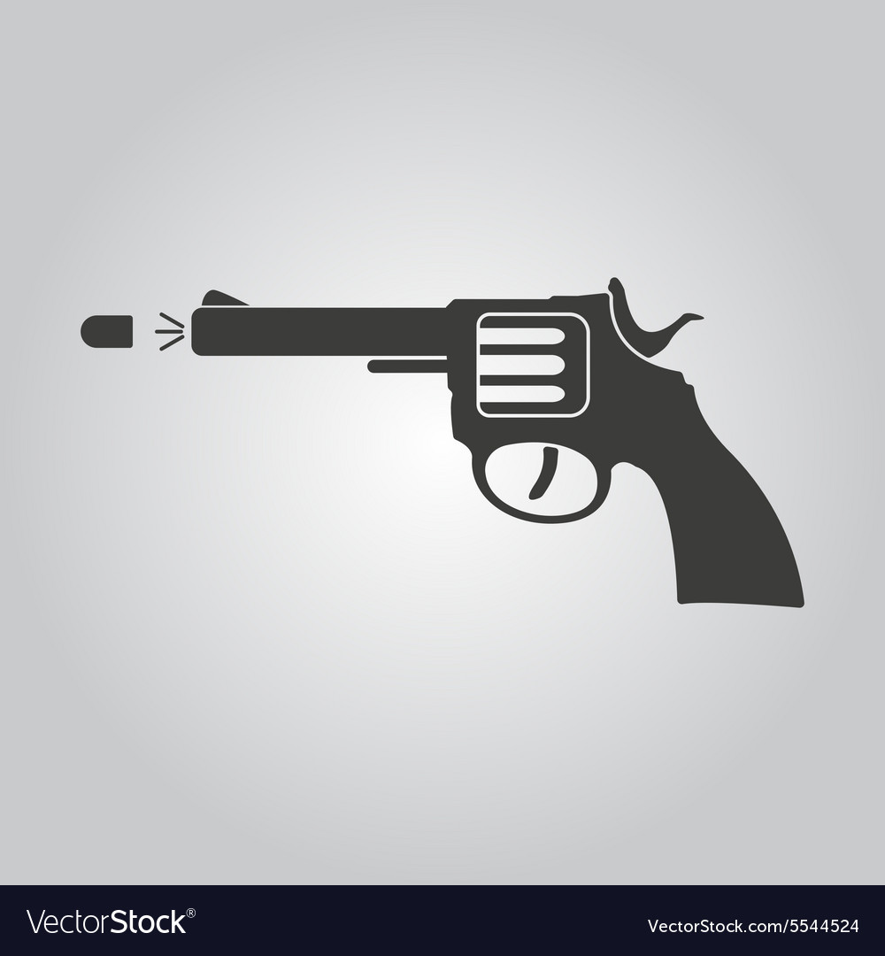 Gun icon pistol and handgun weapon revolver vector
