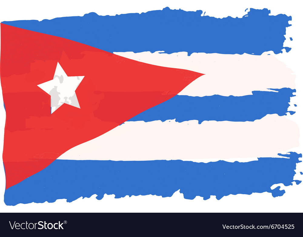 Cuban flag painted by brush hand paints art flag vector