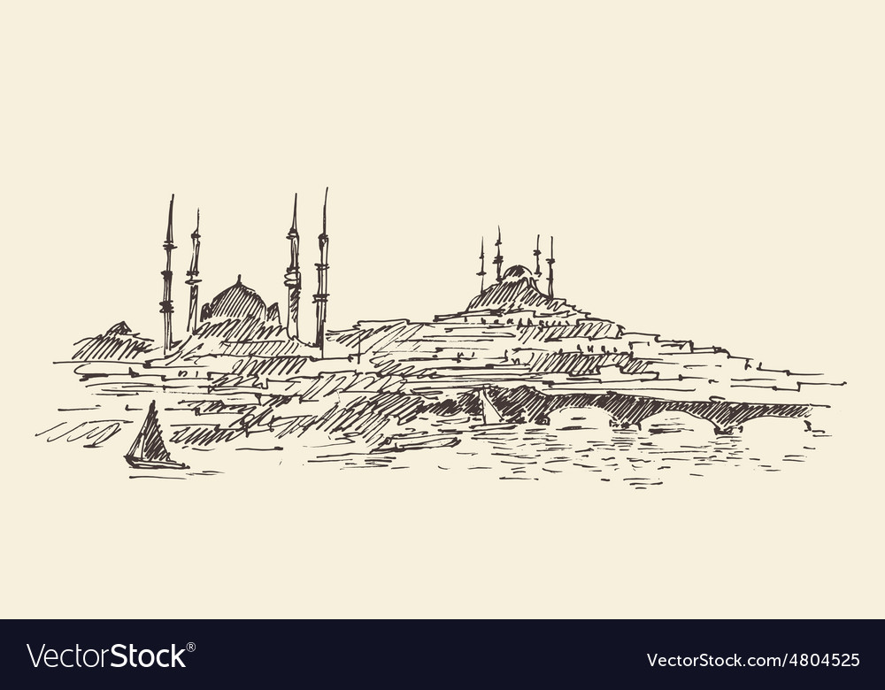 Istanbul turkey harbor vintage engraved sketch vector