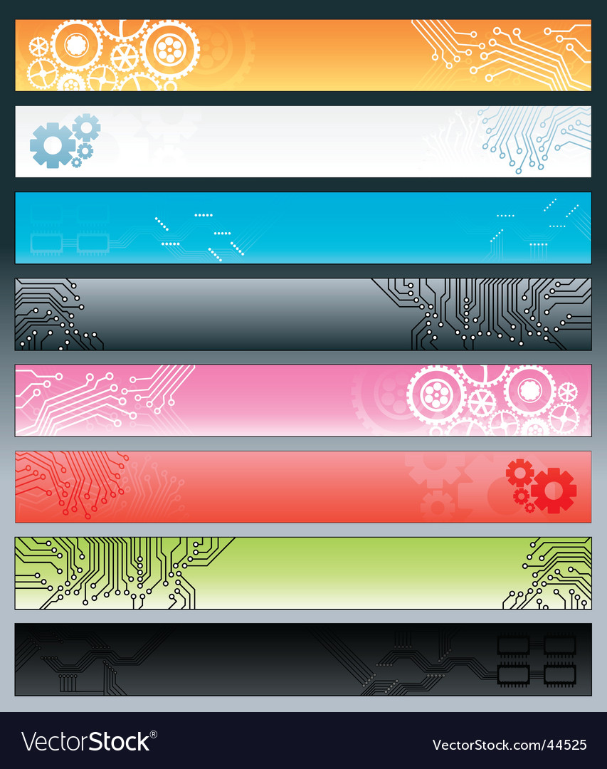 Technological circuitry web banners vector