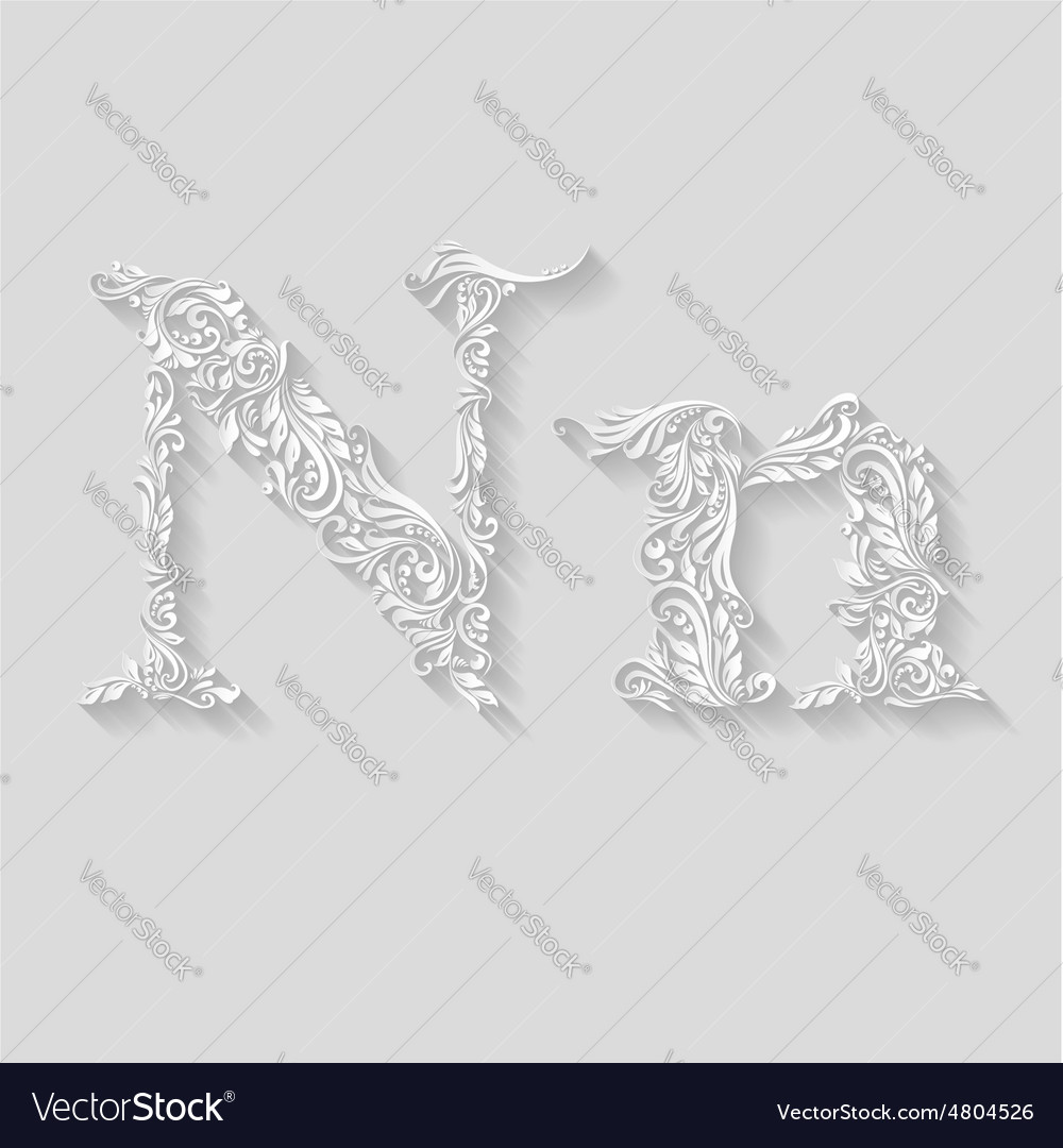 Decorated letter n vector