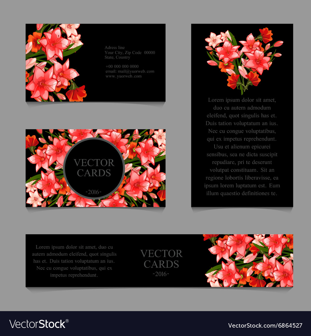 Cards with lilies and frame text vector