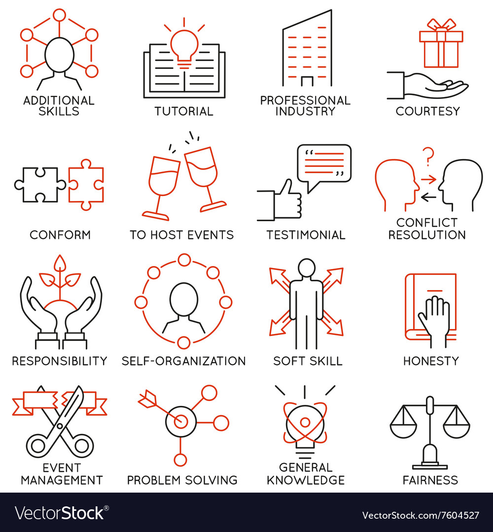 Set of icons related to business management 28 vector