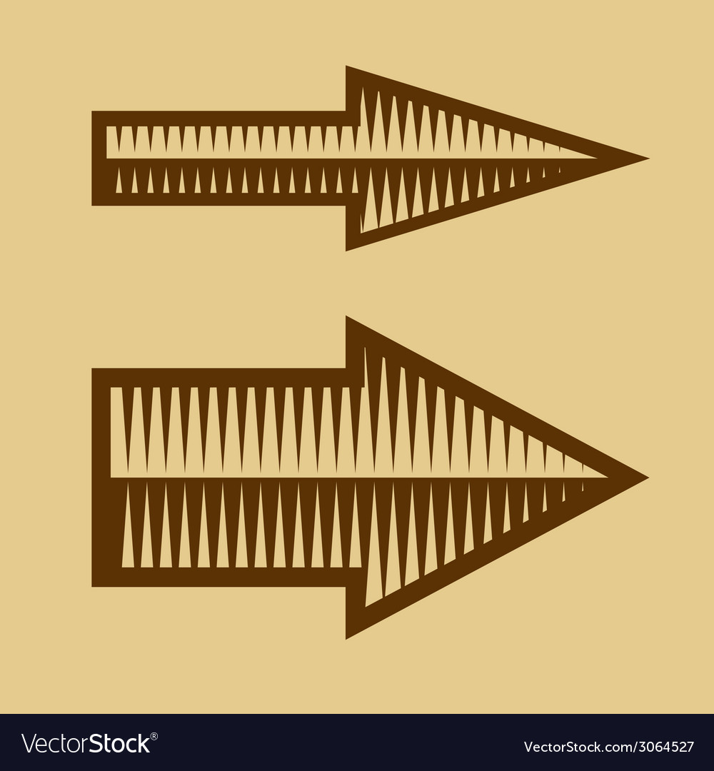 Set of trendy vintage arrows on old paper vector