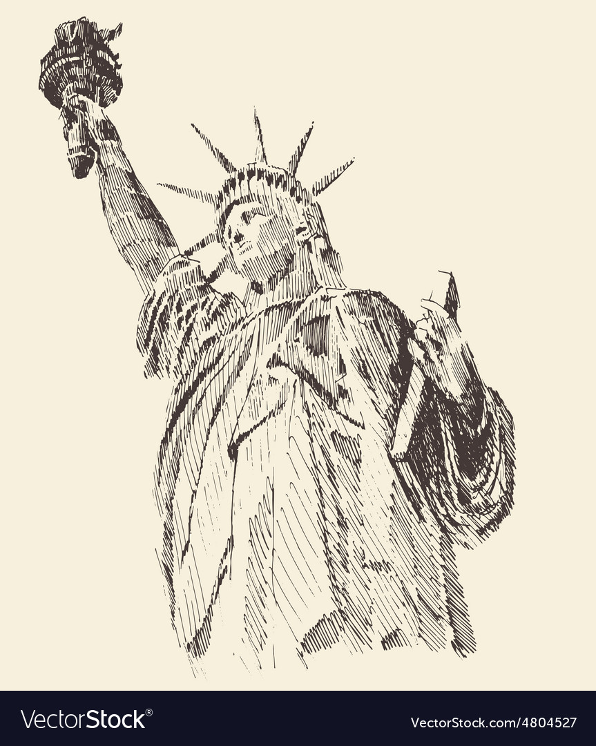 Statue of liberty hand drawn engraved sketch vector