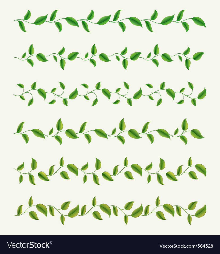 Borders from green leaves set vector