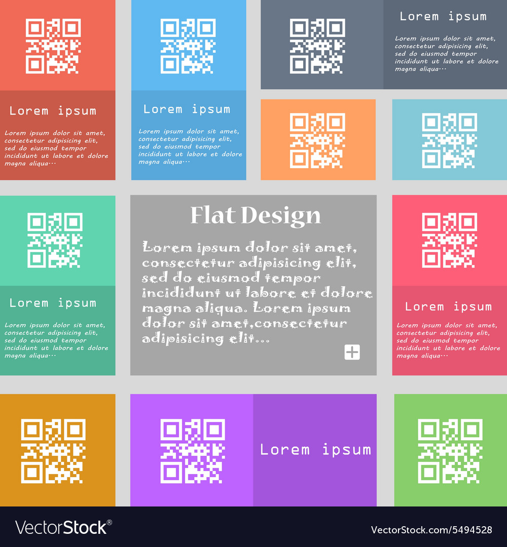 Qr code icon sign set of multicolored buttons with vector