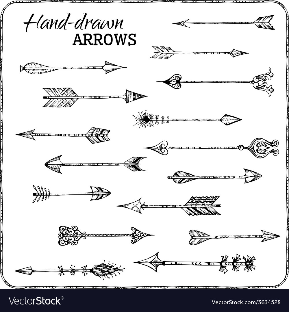 Set of handdrawn arrows vector