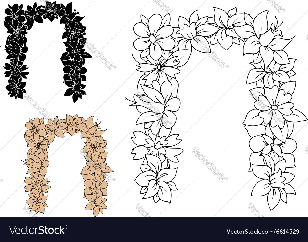 Vintage letter n with decorative flowers vector