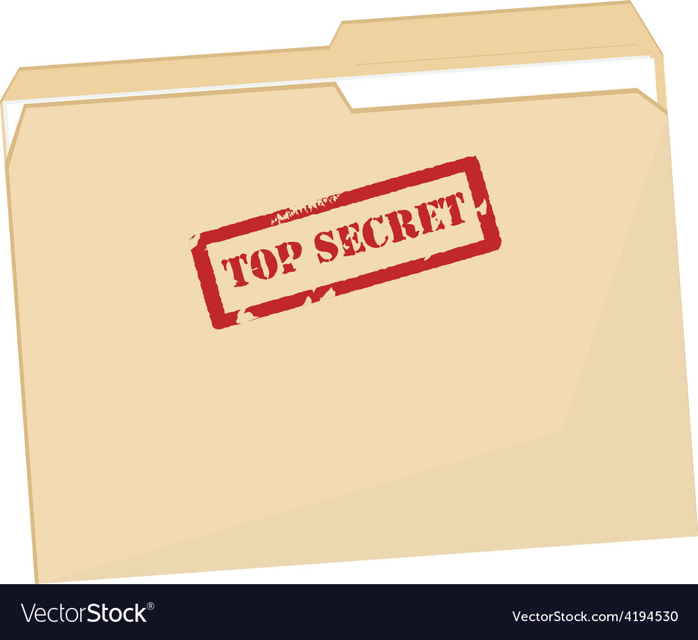 File folder with stamp top secret vector