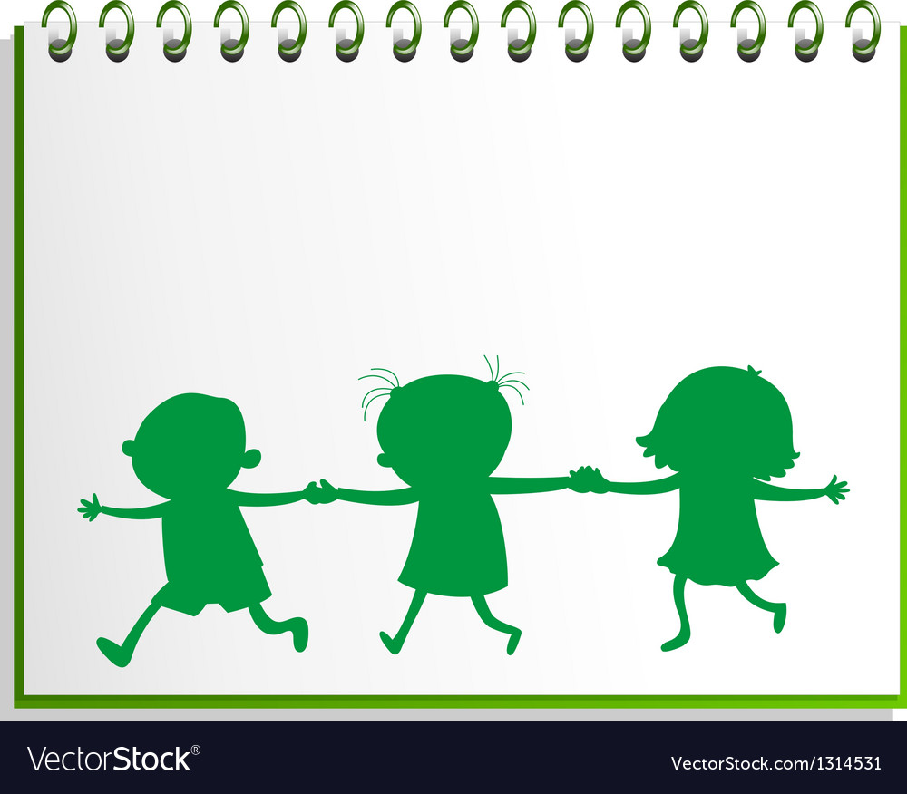 A notebook with a drawing of three kids vector